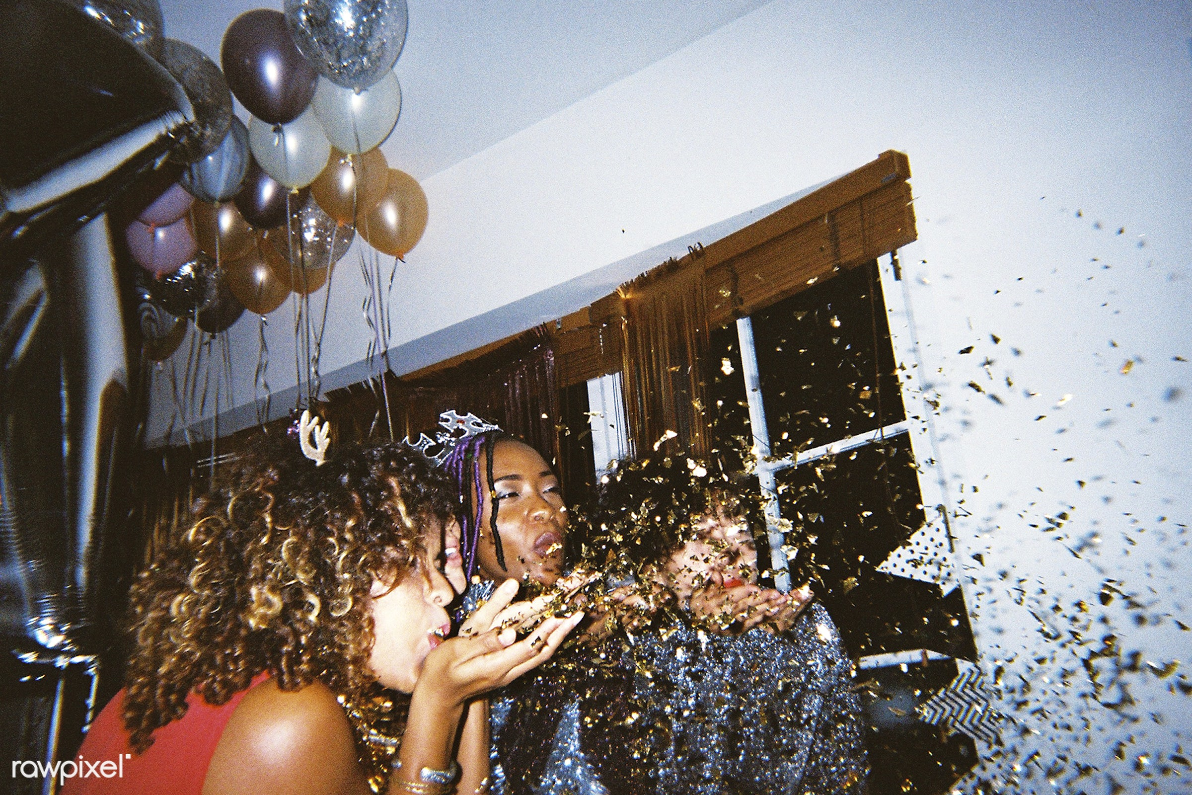People enjoying a party - 2018, african american, african descent, balloons, birthday, birthday party, black, blowing,...