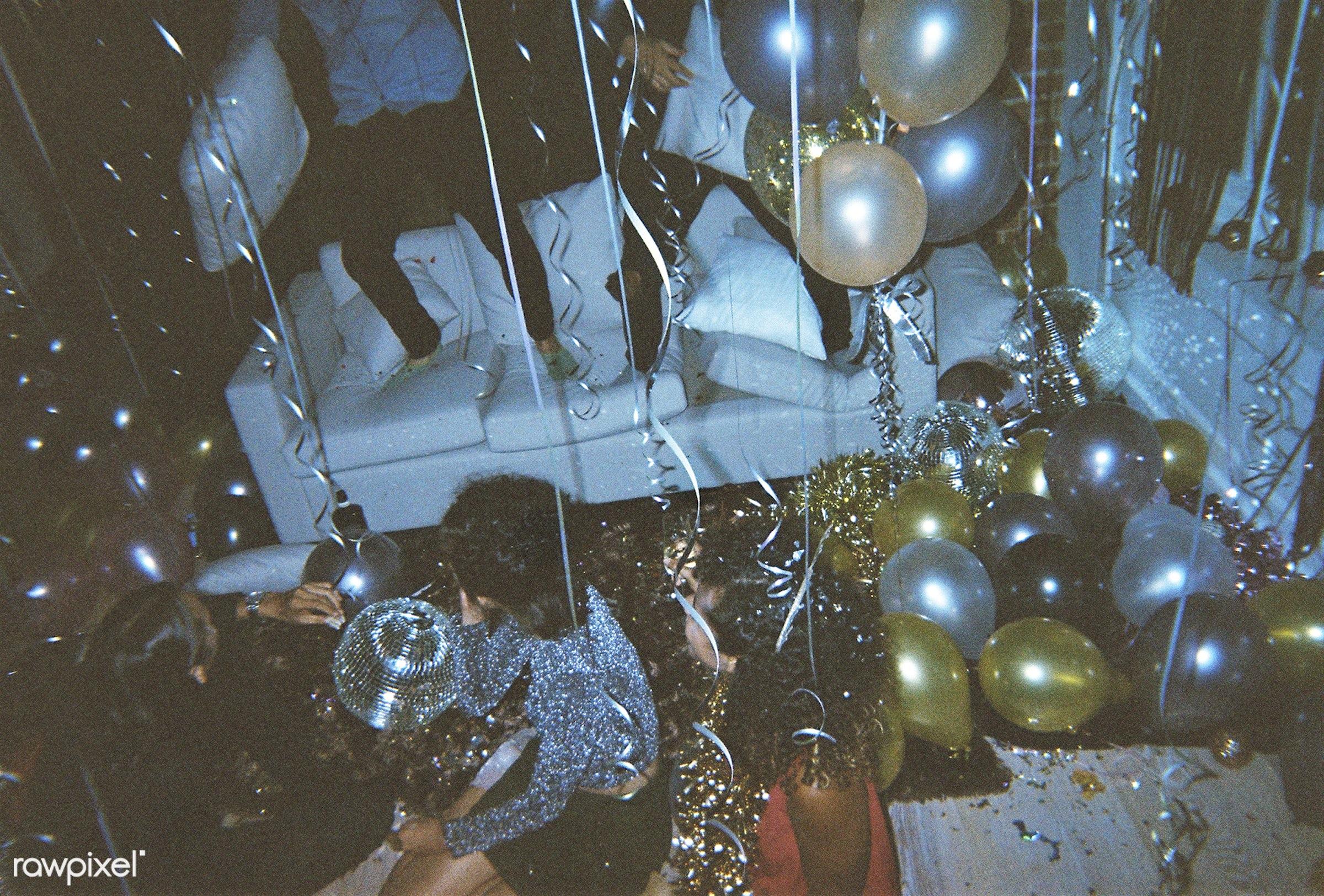 People enjoying a party - new year, 2018, balloons, birthday, birthday party, caucasian, celebrate, celebration, disco ball...