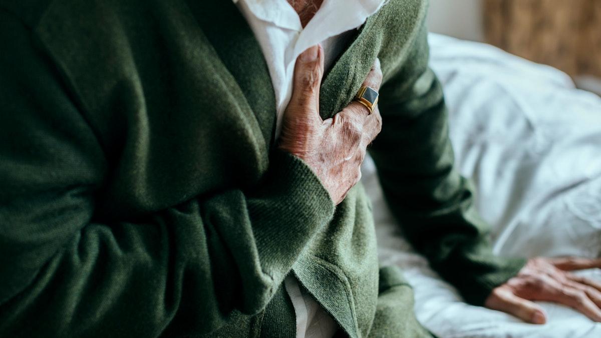 Coronavirus infected elderly man with heart problems