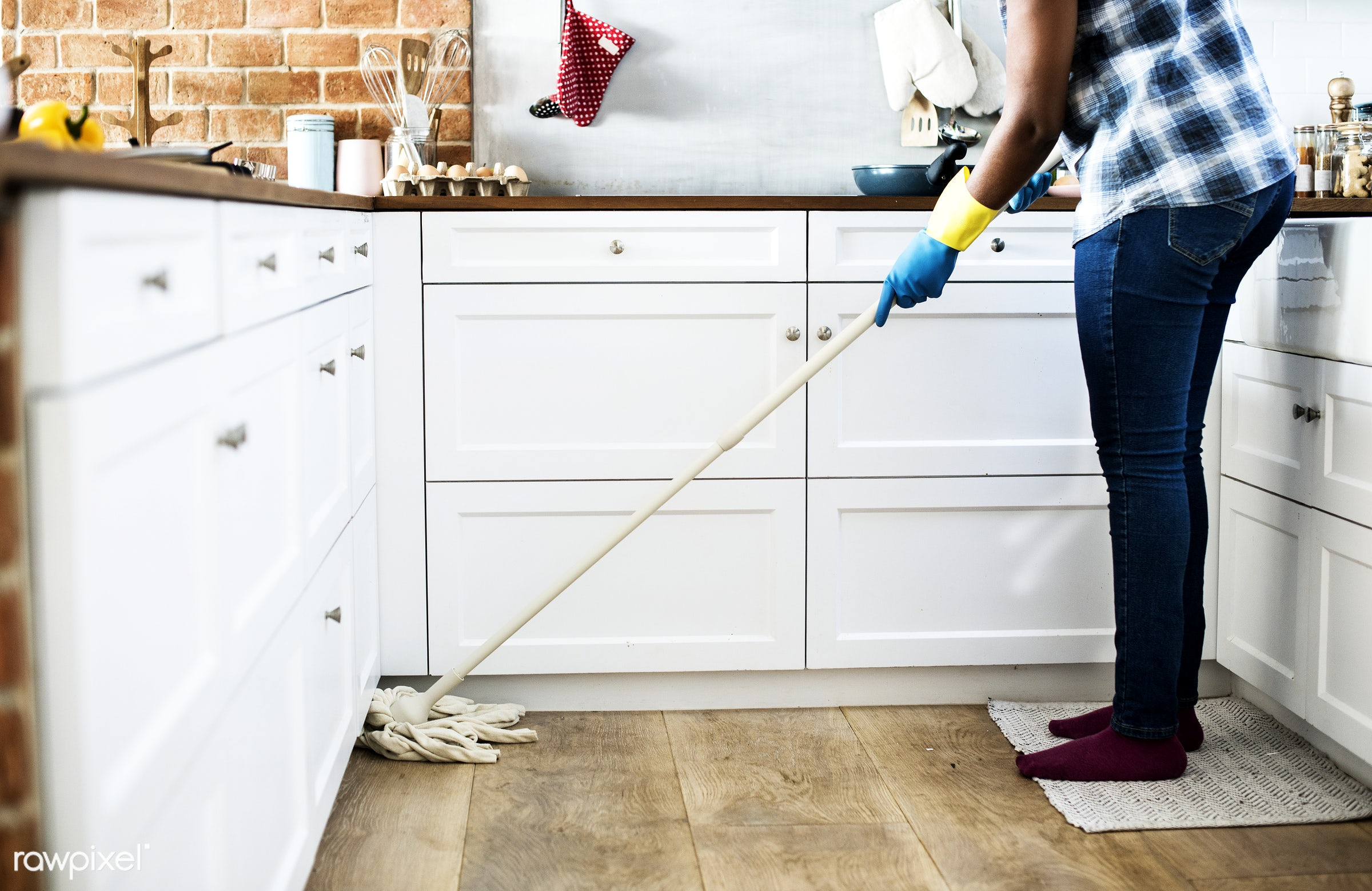 Black woman doing house chores - african, african american, african descent, afternoon, alone, america, american, apartment...