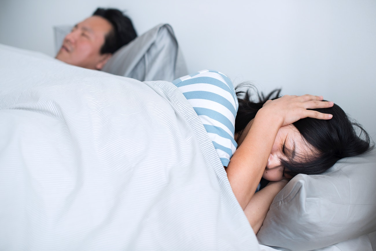 Husband Disrupting Wife S Sleep With His Loud Snoring Royalty Free Photo 379712