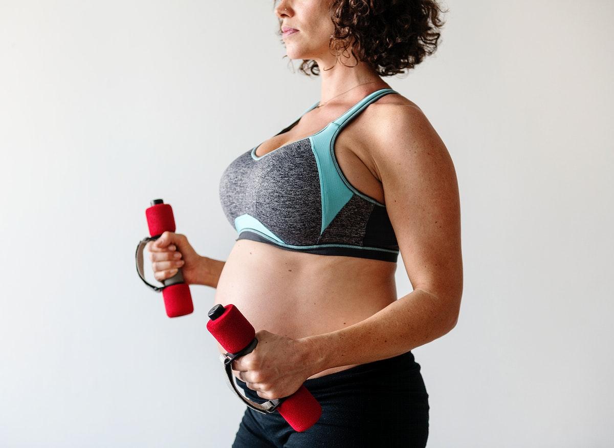 Pregnant woman doing light exercise