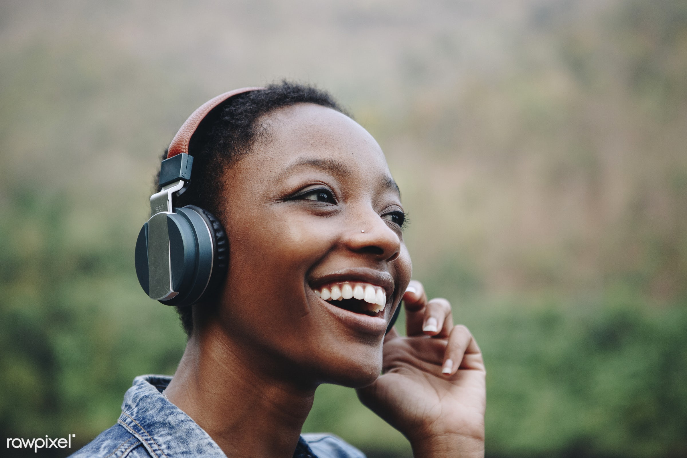 Woman listening to music in nature - portrait, happy, woman, african, nature, relax, wanderlust, african american, alone,...