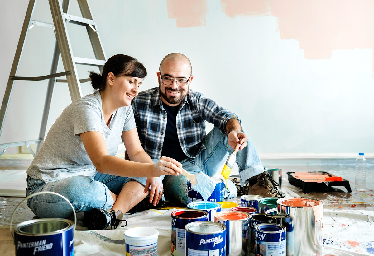 Couple renovating the house together