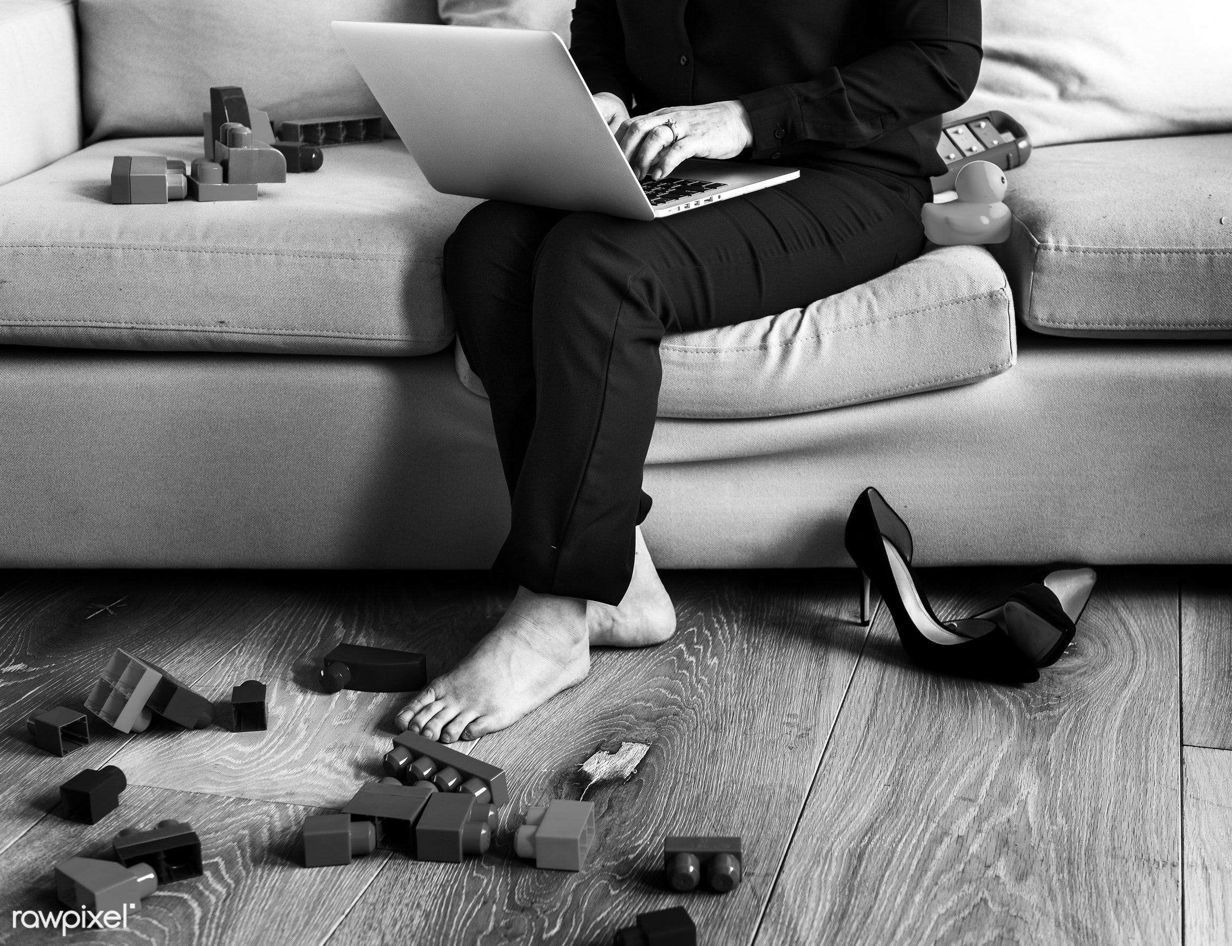 Woman working on laptop on sofa - mom, family, sofa, adult, alone, apartment, asian, asian ethnicity, at home, black...