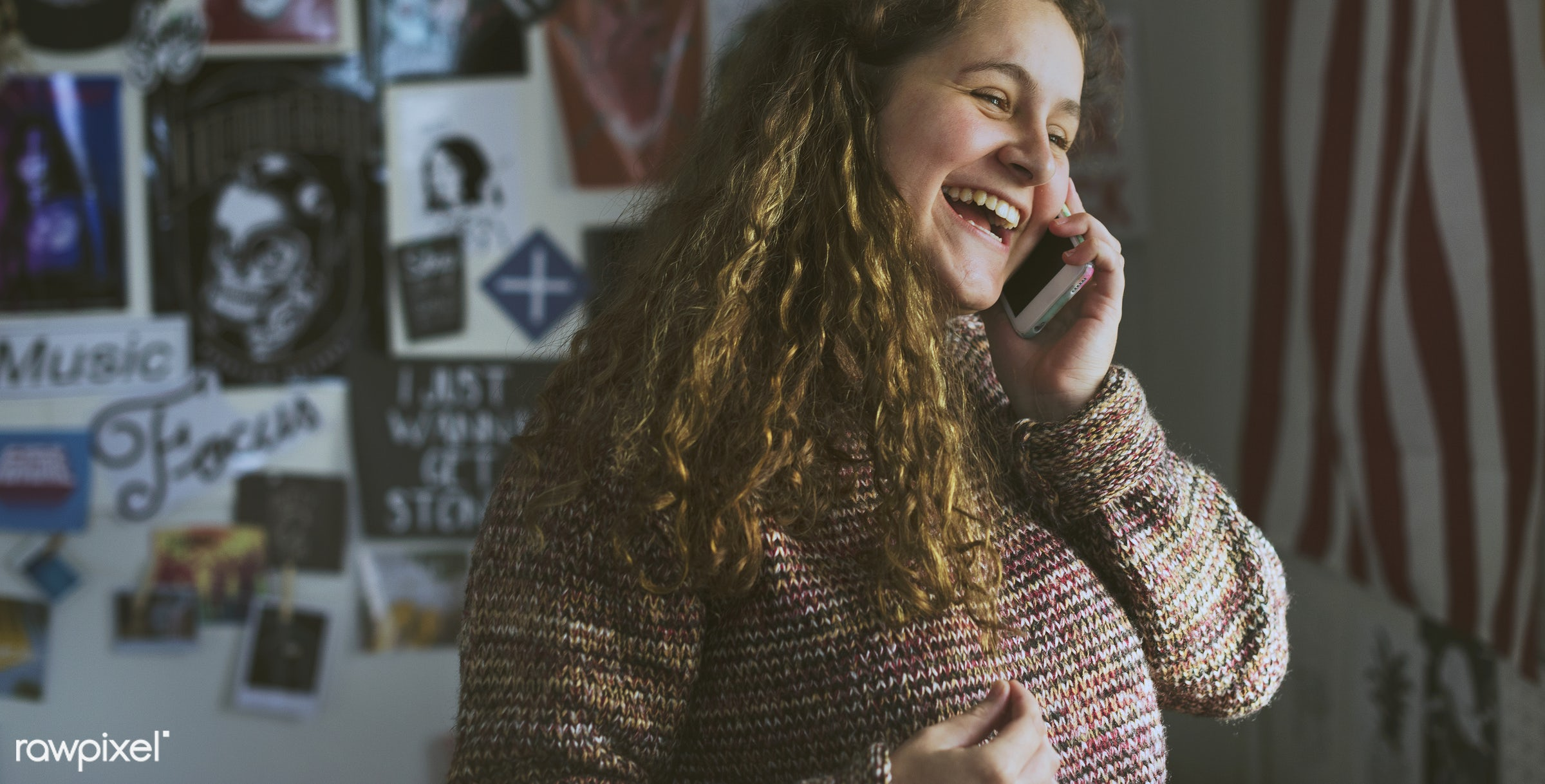 Teenage girl talking on a phone in a bedroom - teenager, smartphone, lifestyle, happy, bed, addicted, addiction, adolescence...