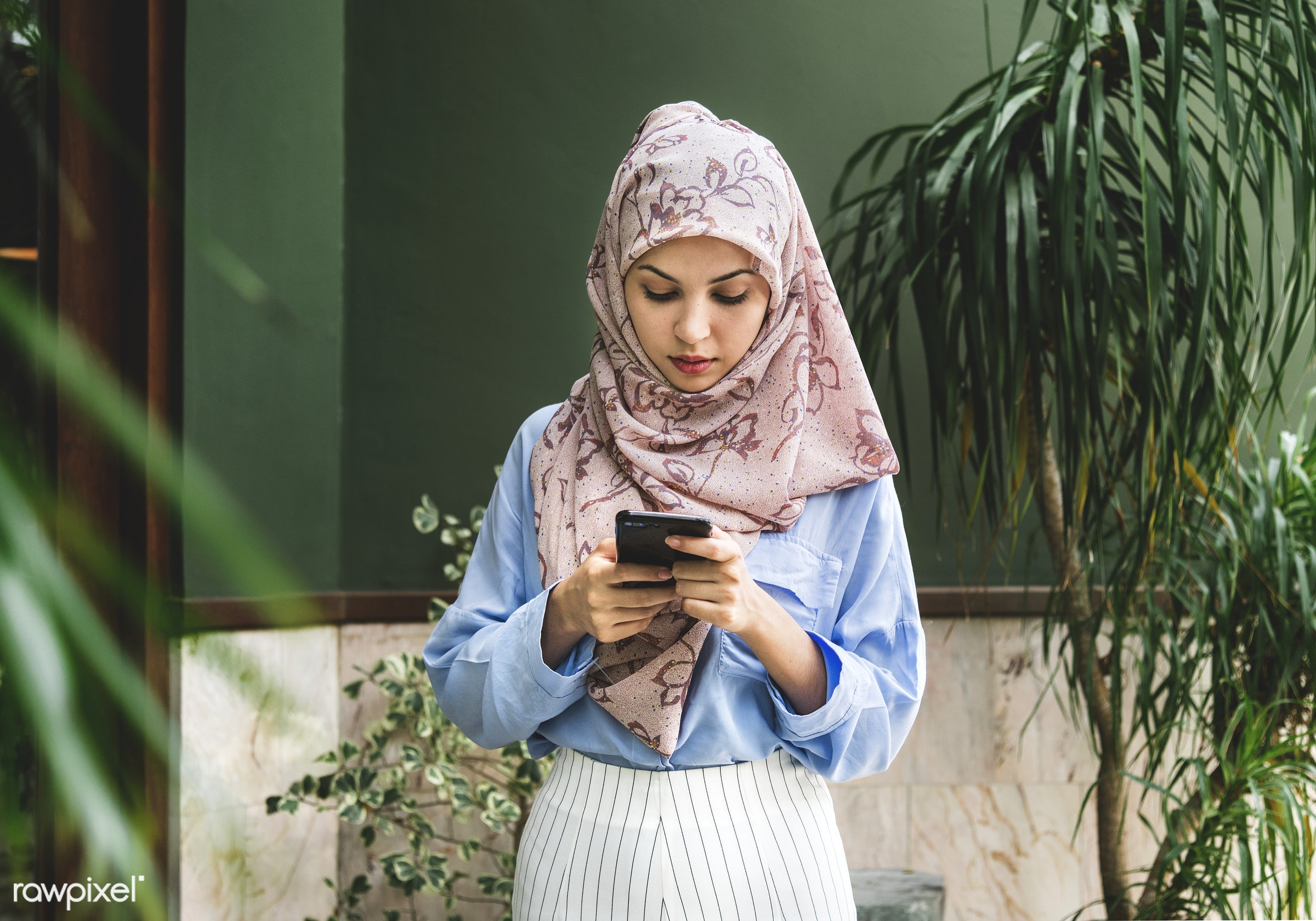 Islamic woman using smartphone - adult, app, arab, arabian, arabic, asian, beautiful, beauty, burka, chatting, communication...
