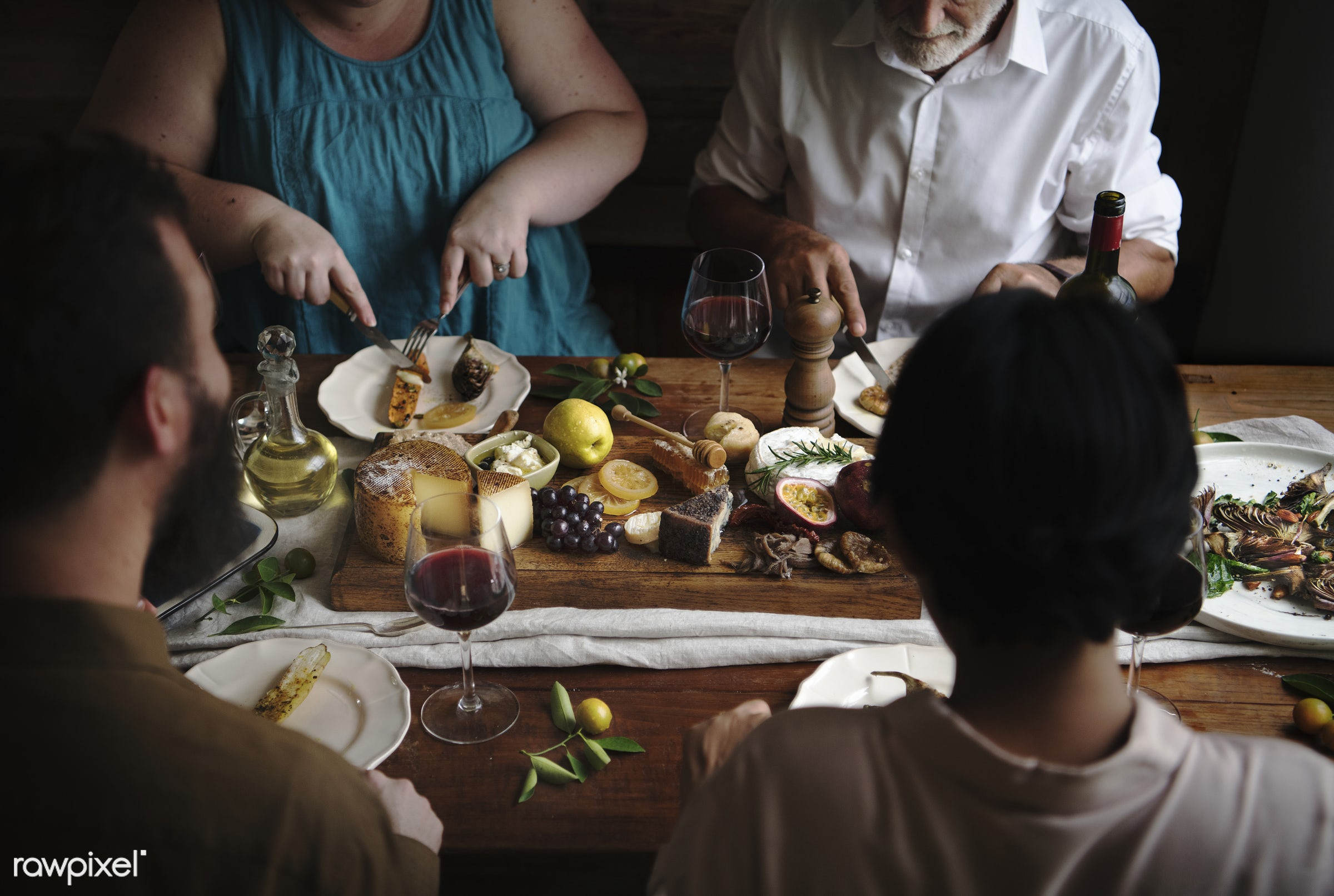 People enjoying a cheese platter food photography recipe idea - biscuit, camembert, cheese, cheese board, cheese platter,...