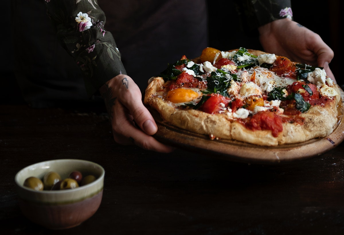 Serving pizza food photography recipe idea