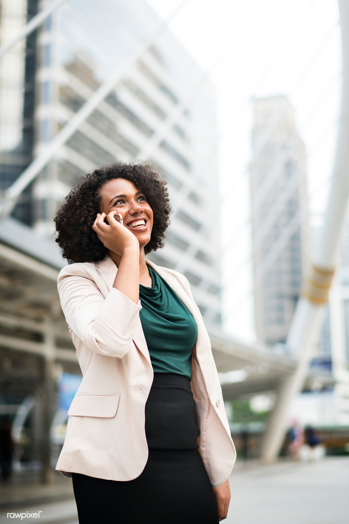 Happy Businesswoman Talking On The Phone Free Stock Photo