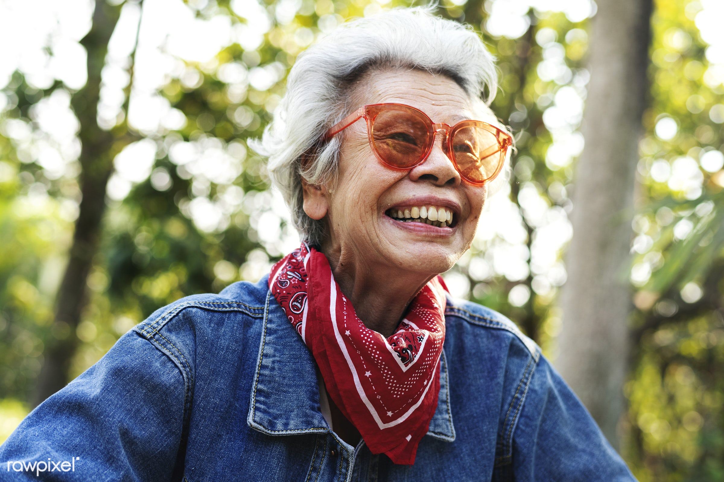 Wild and free mature woman - activity, alone, asian, cheerful, chinese, classic, closeup, denim jacket, elderly, emotion,...