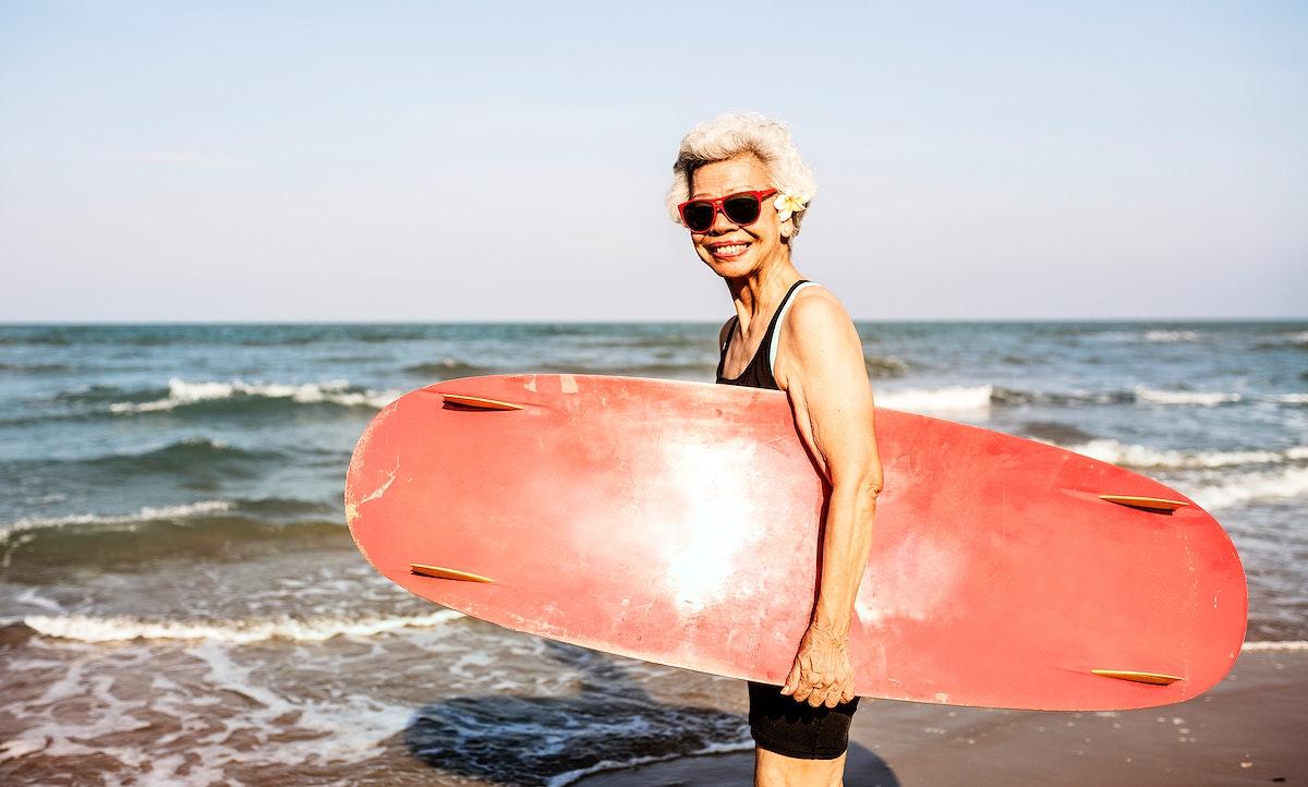 Surfer at a nice beach