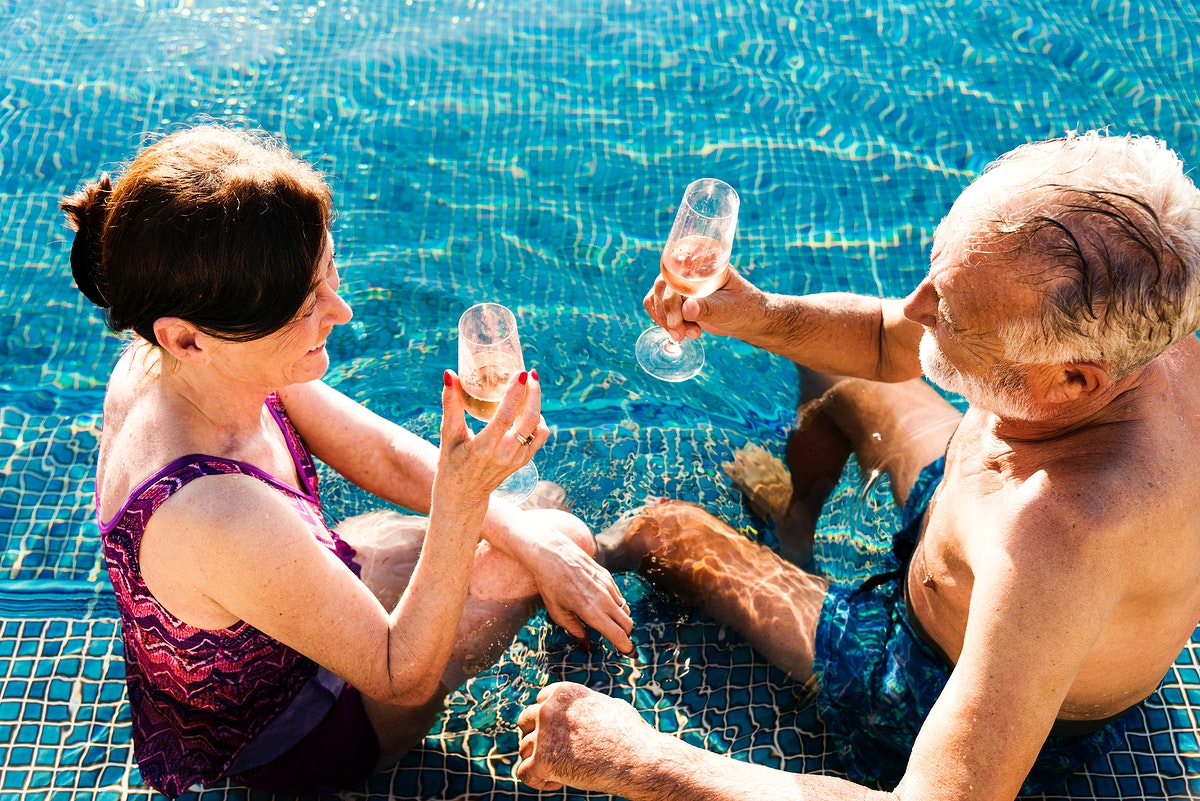 Mature couple in a swimming pool