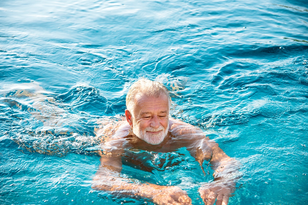 Mature man in a swimming pool