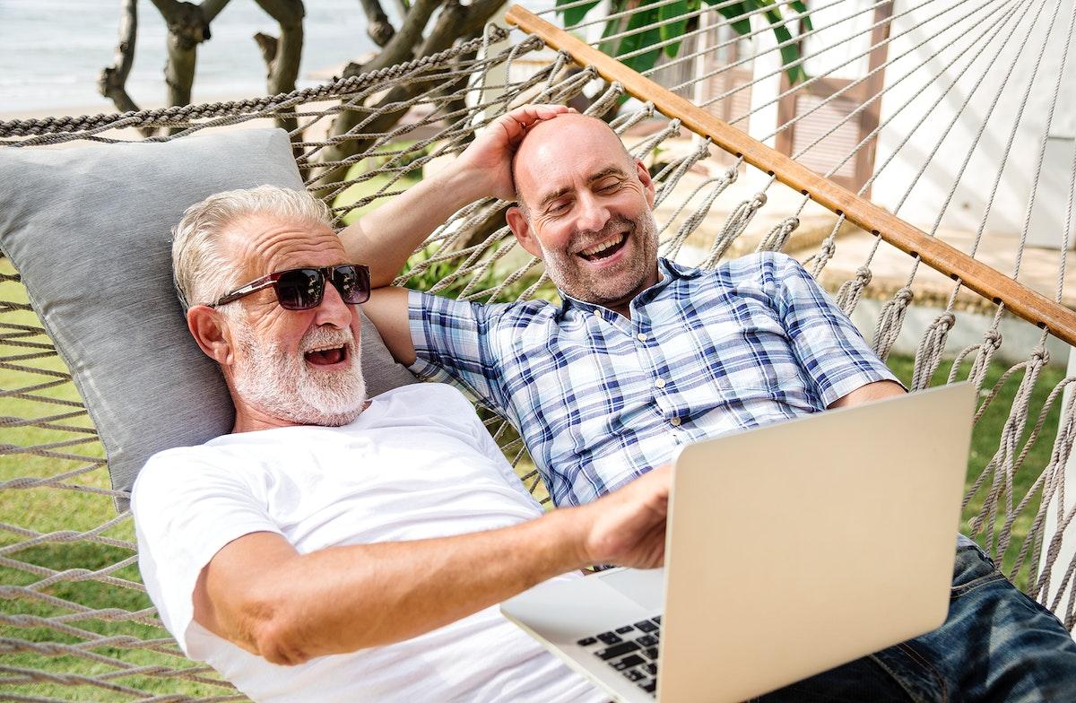 Senior men relaxing in a hammock