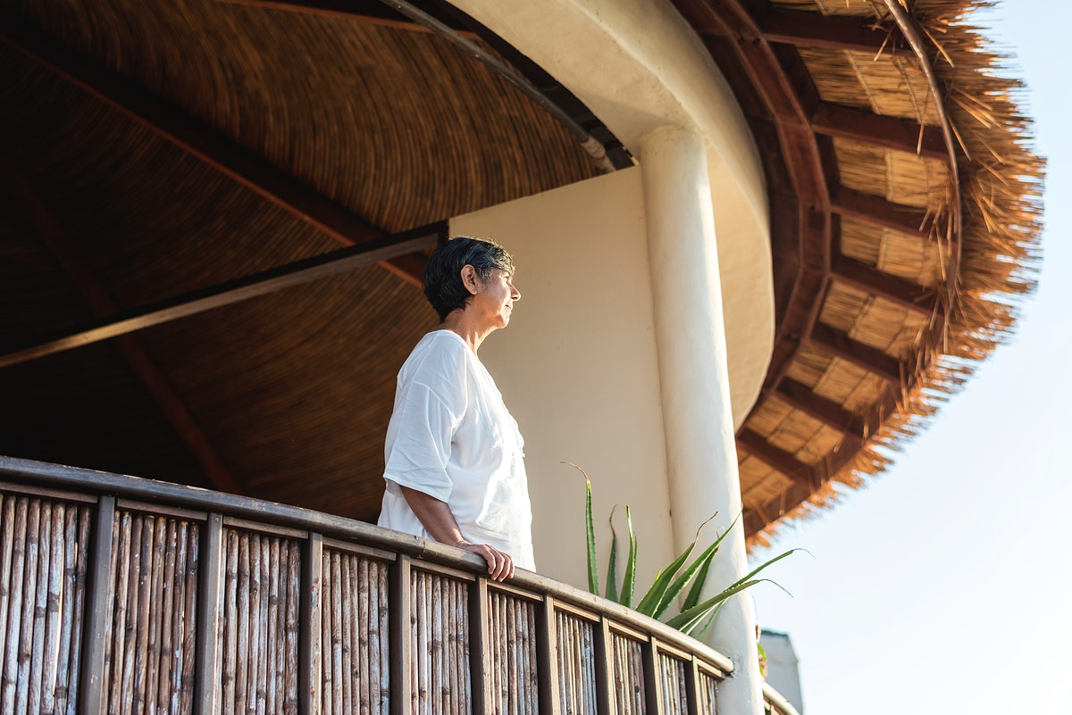 Mature woman looking out at the view