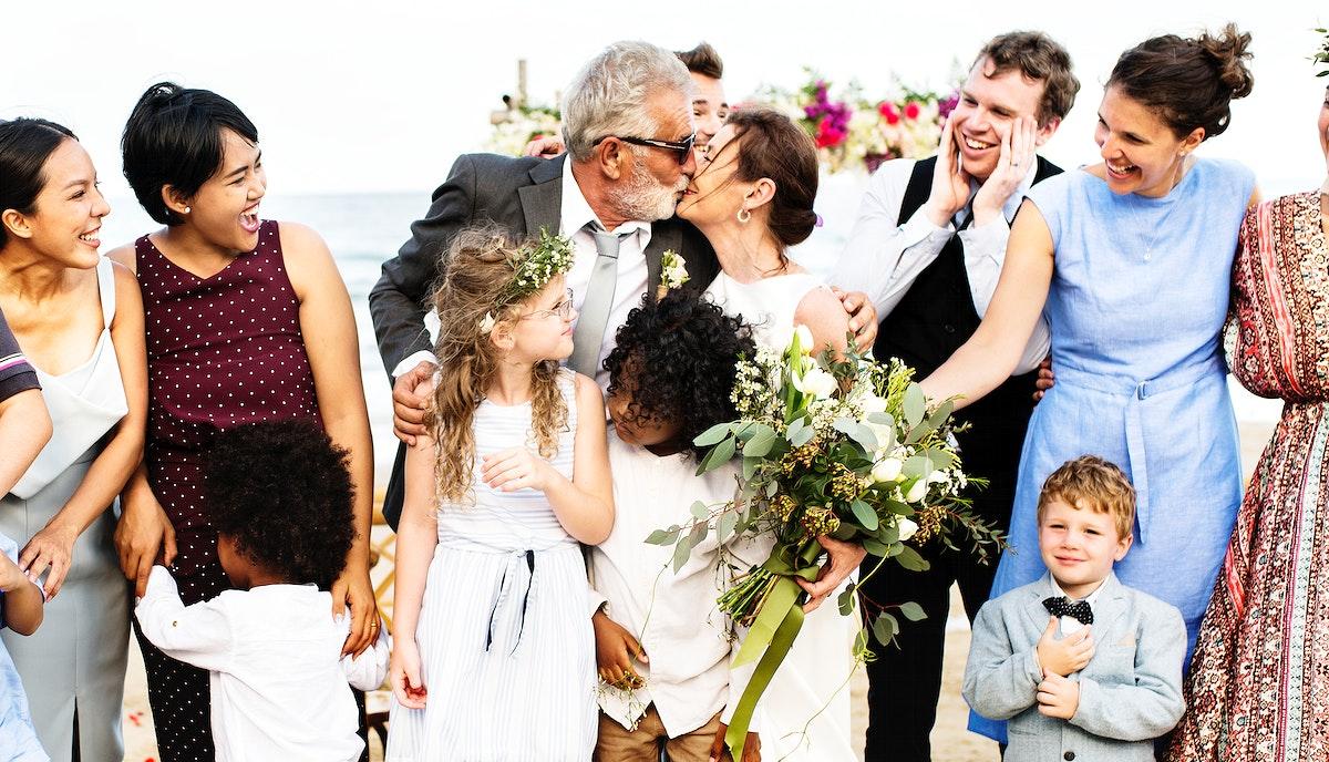 Senior couple's wedding by te beach
