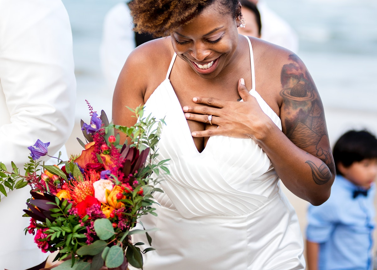 Cheerful holding a bouquet of flowers