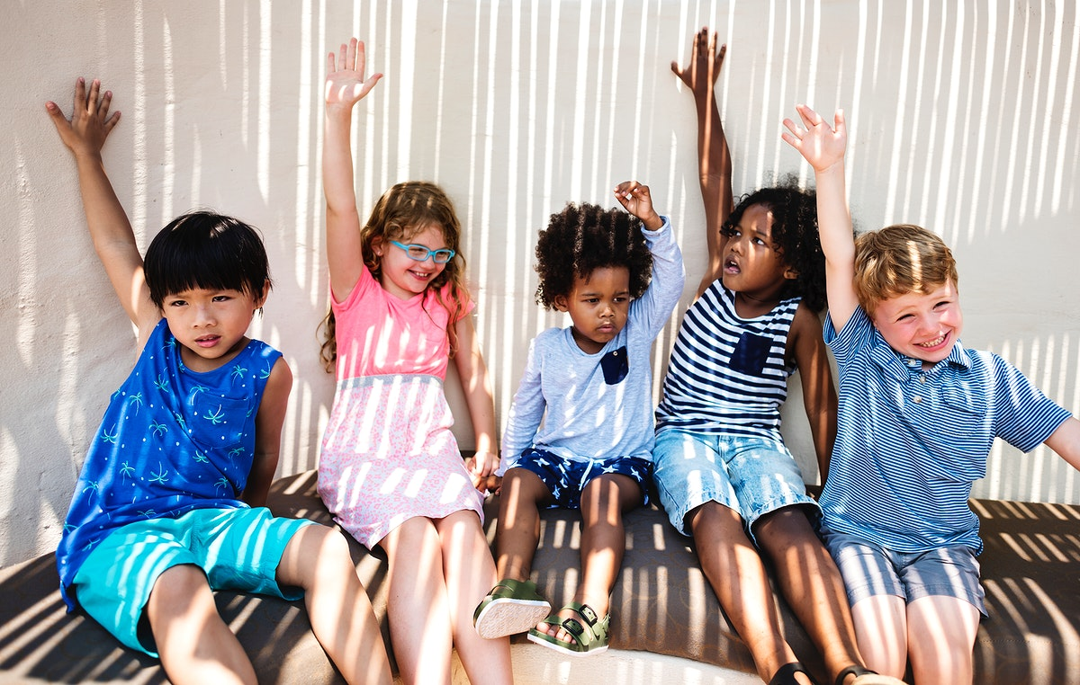Group of little kids having fun