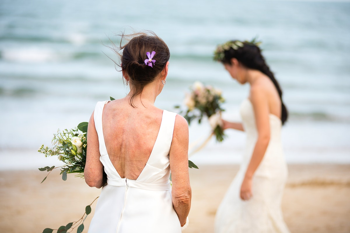 Two brides at the beach