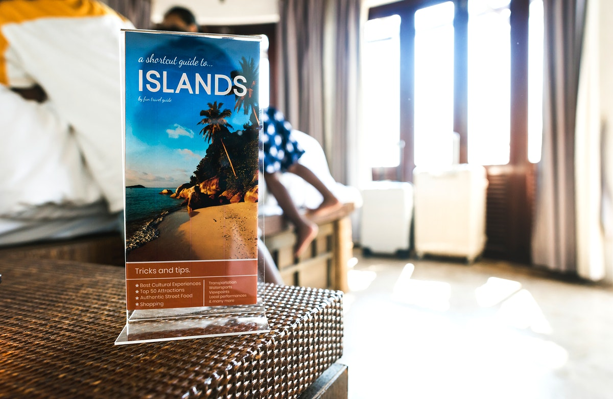 A travel brochure in a hotel