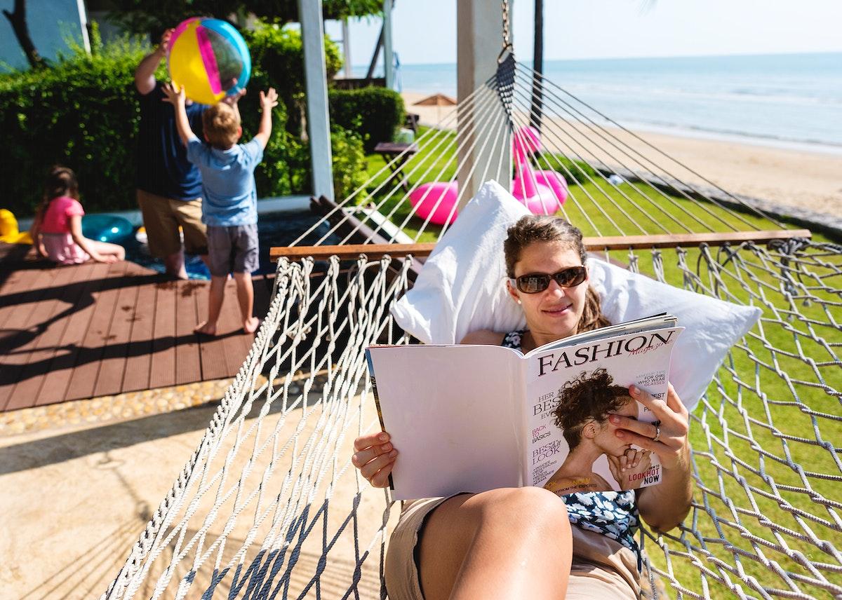 Family at a tropical resort