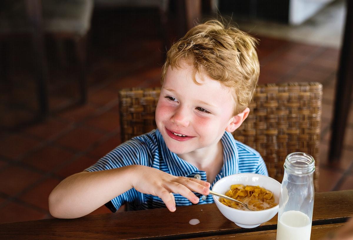 Little boy at a hotel breakfast