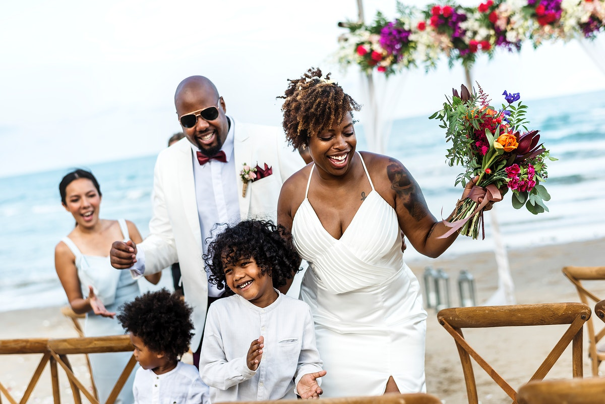 Happy bride and groom in a wedding ceremony at a tropical island