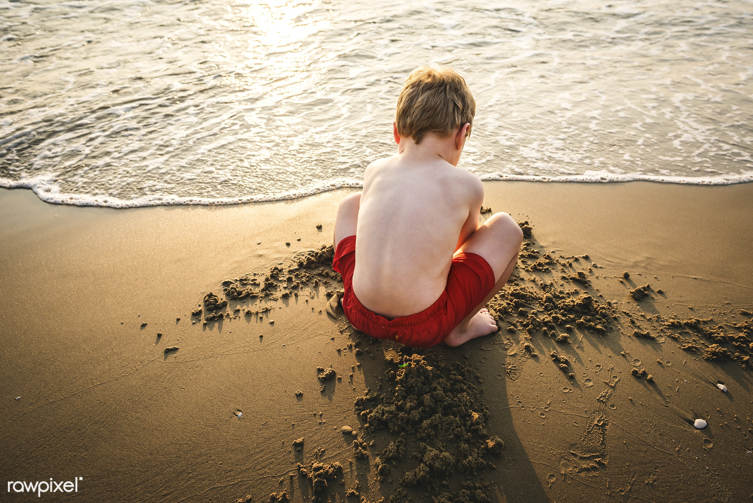 A little boy playing in the sand - activity, adorable, beach, boy, castle, child, childhood, children, coastline, cute, dig...