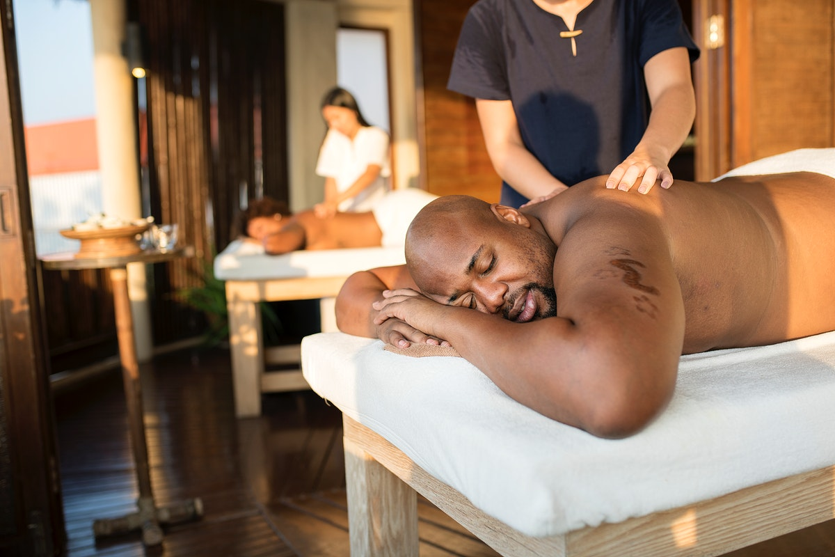 Couple getting pampered at a spa