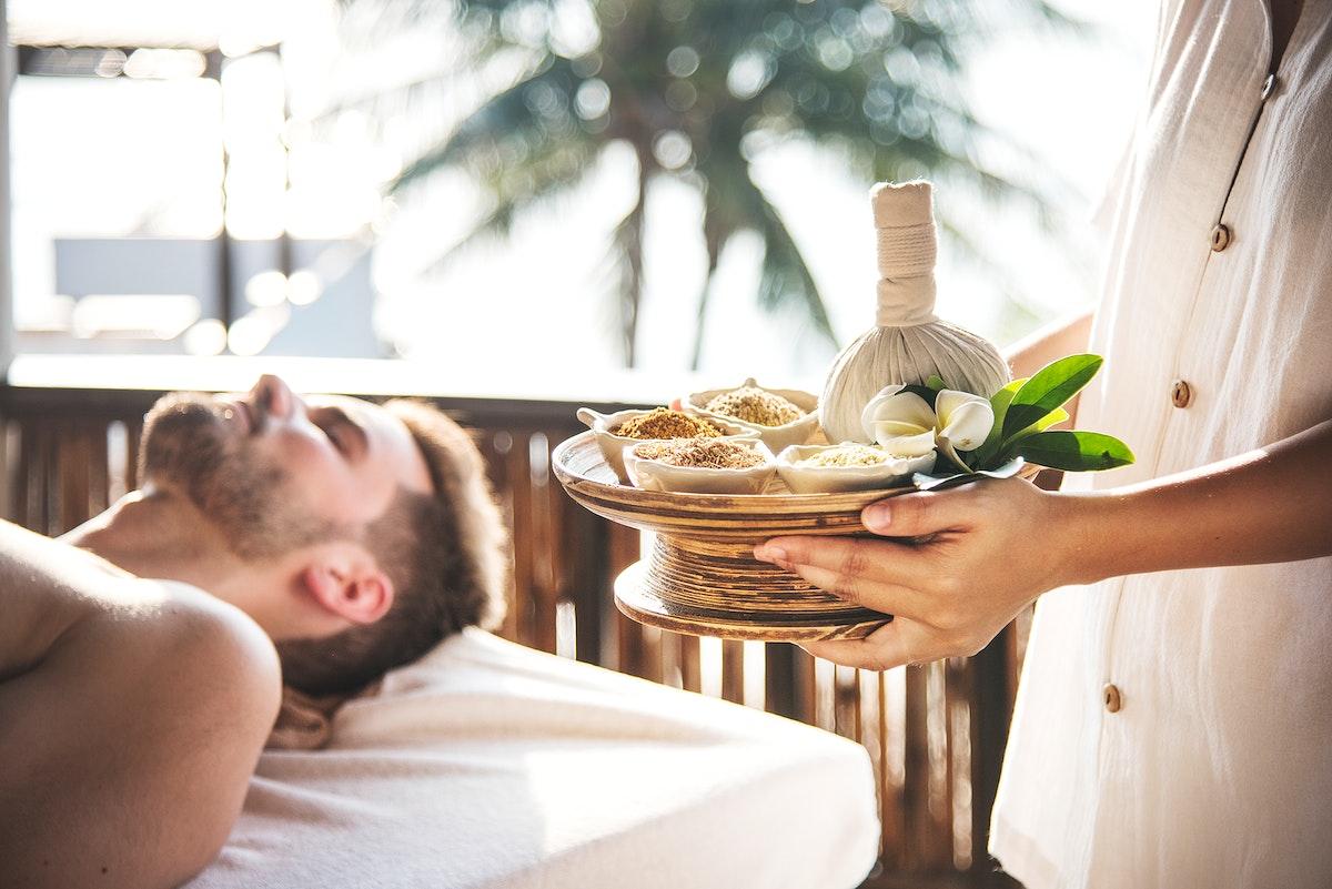 Man at a luxurious spa