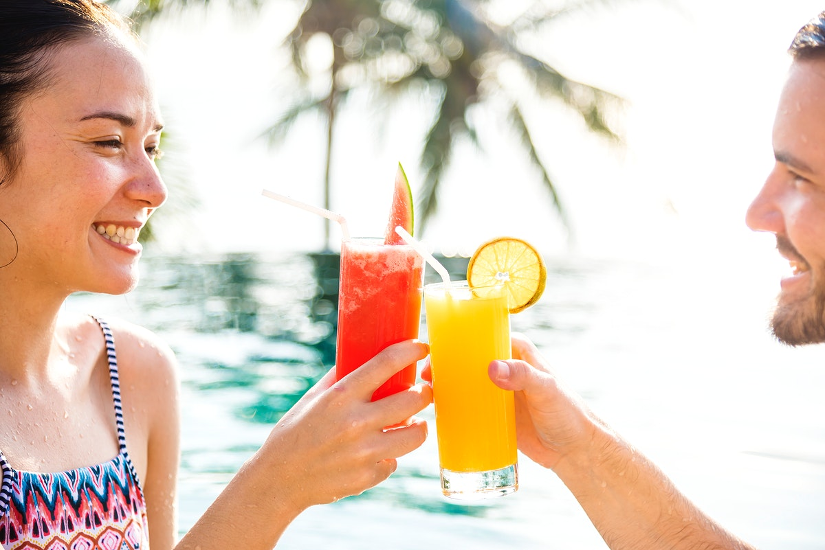 Couple having a toast at a resort