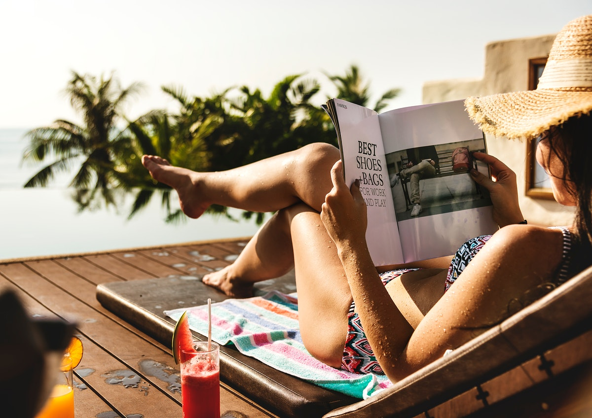 Young woman relaxing at a resort