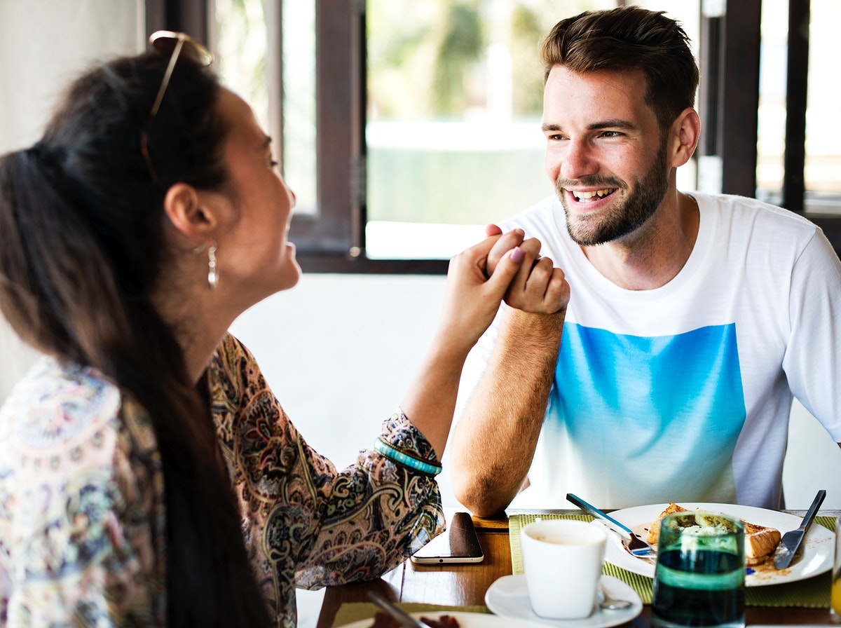 Couple eating a hotel breakfast