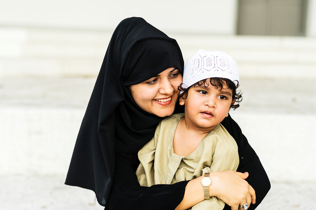 Muslim mother and her son