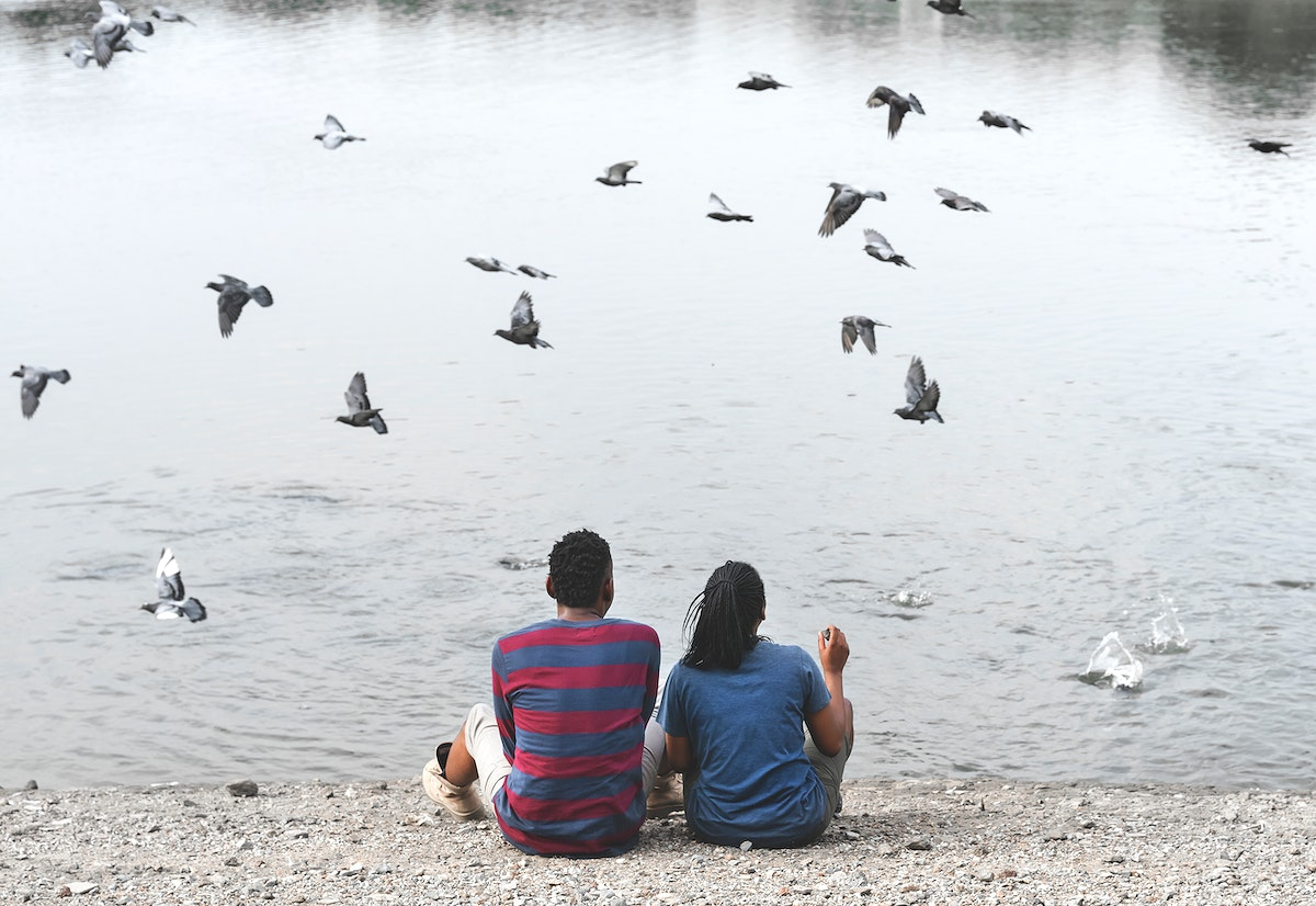 Couple sitting by the lake with birds flying