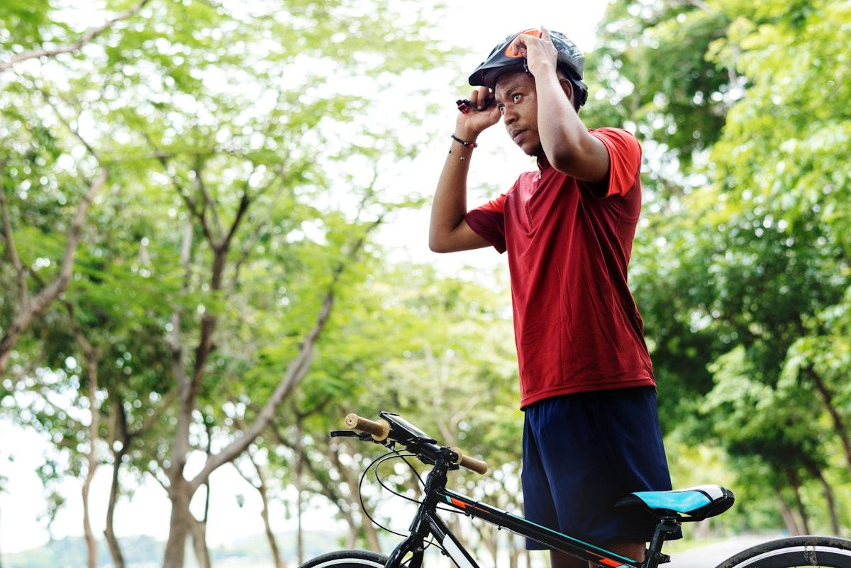 Cyclist preparing to ride a bike