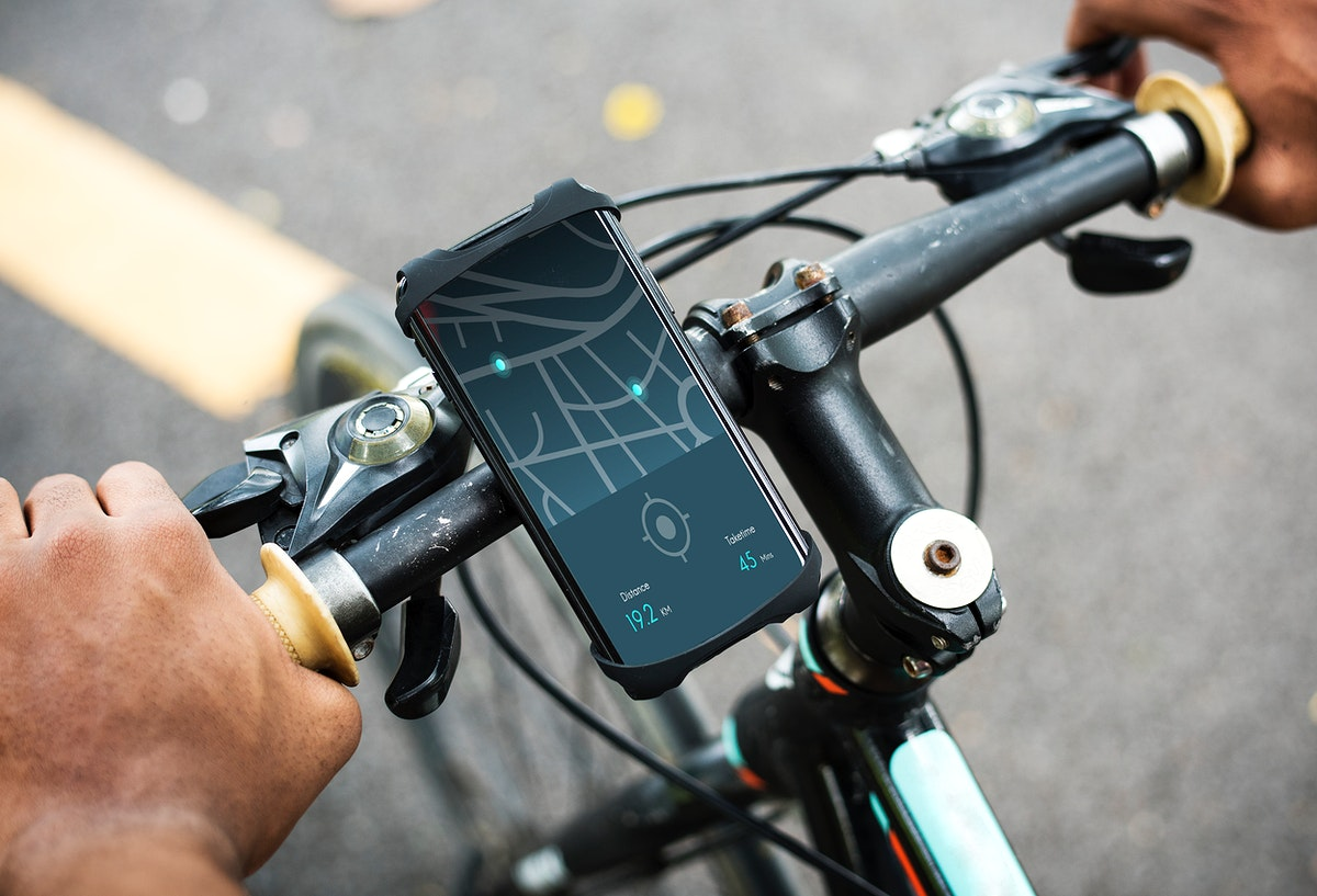 Map application on a device on a bike handle grips