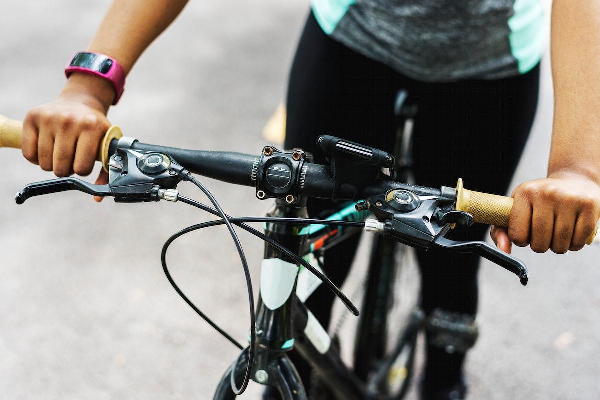 Close up of someone riding a bike