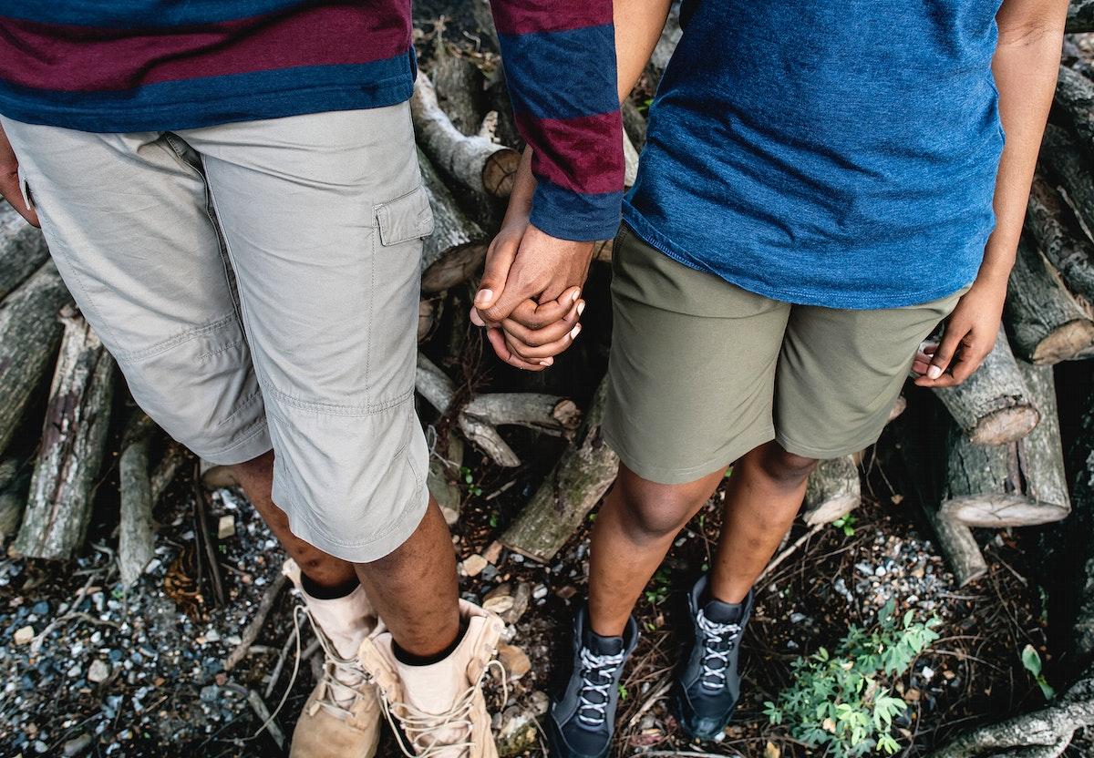 Couple's feet while on a trek