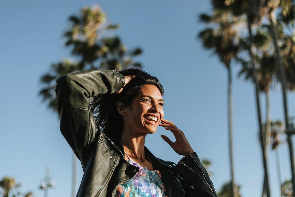Beautiful model posing at Venice Beach