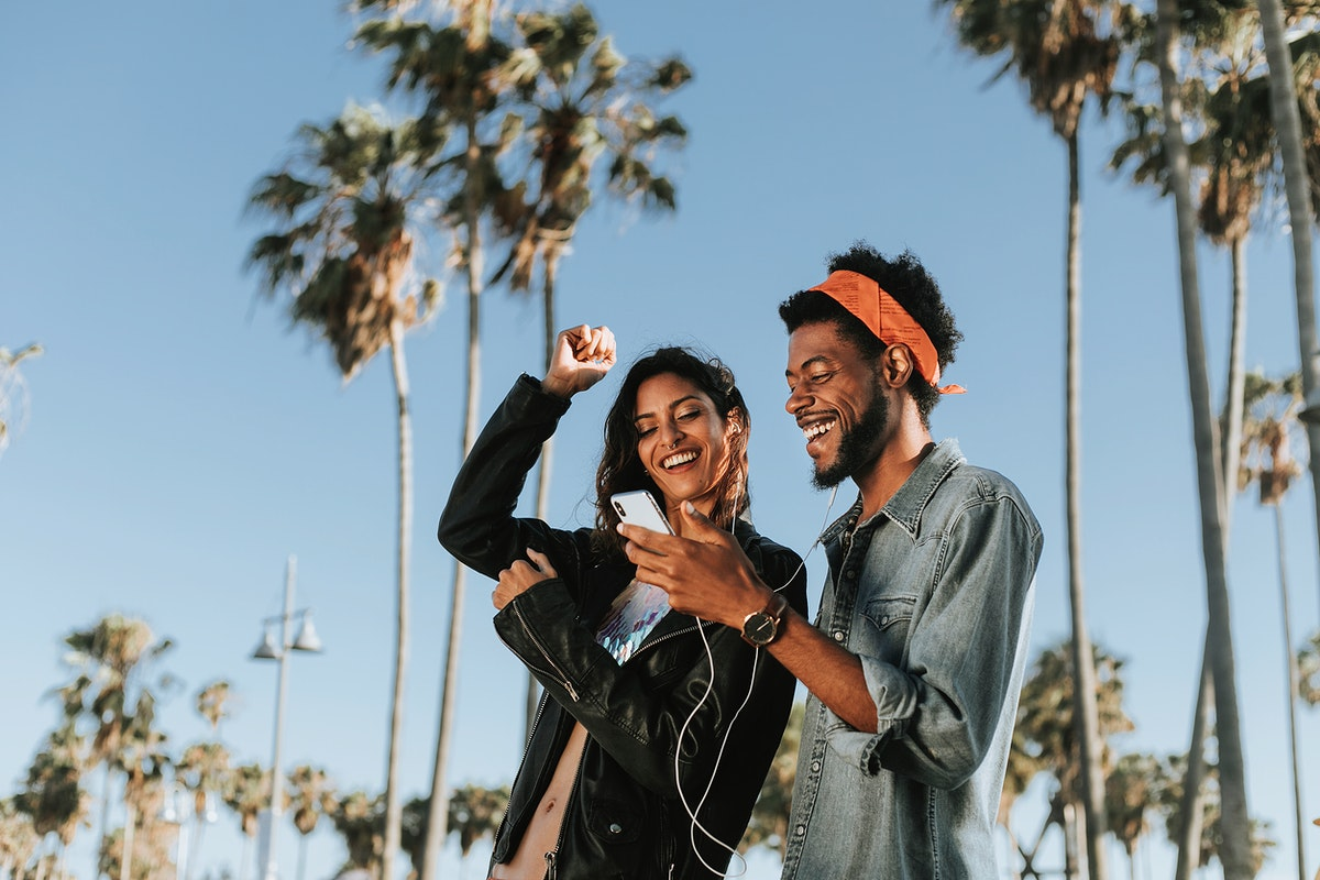 Cool couple taking a selfie