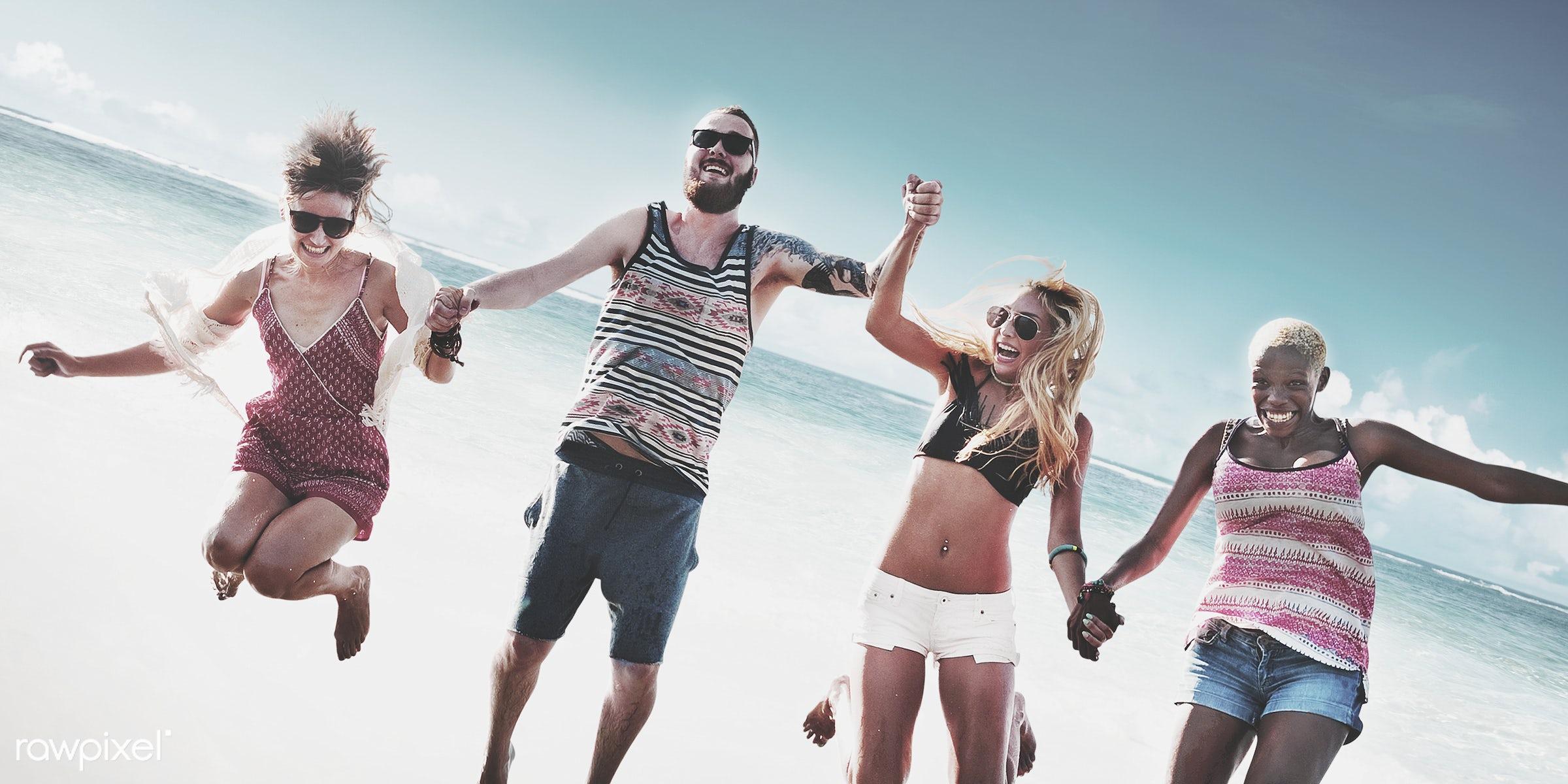 beach, fun, sunny, sea, jump, hipster, group, festival, diversity, action, african descent, asian ethnicity, bonding,...