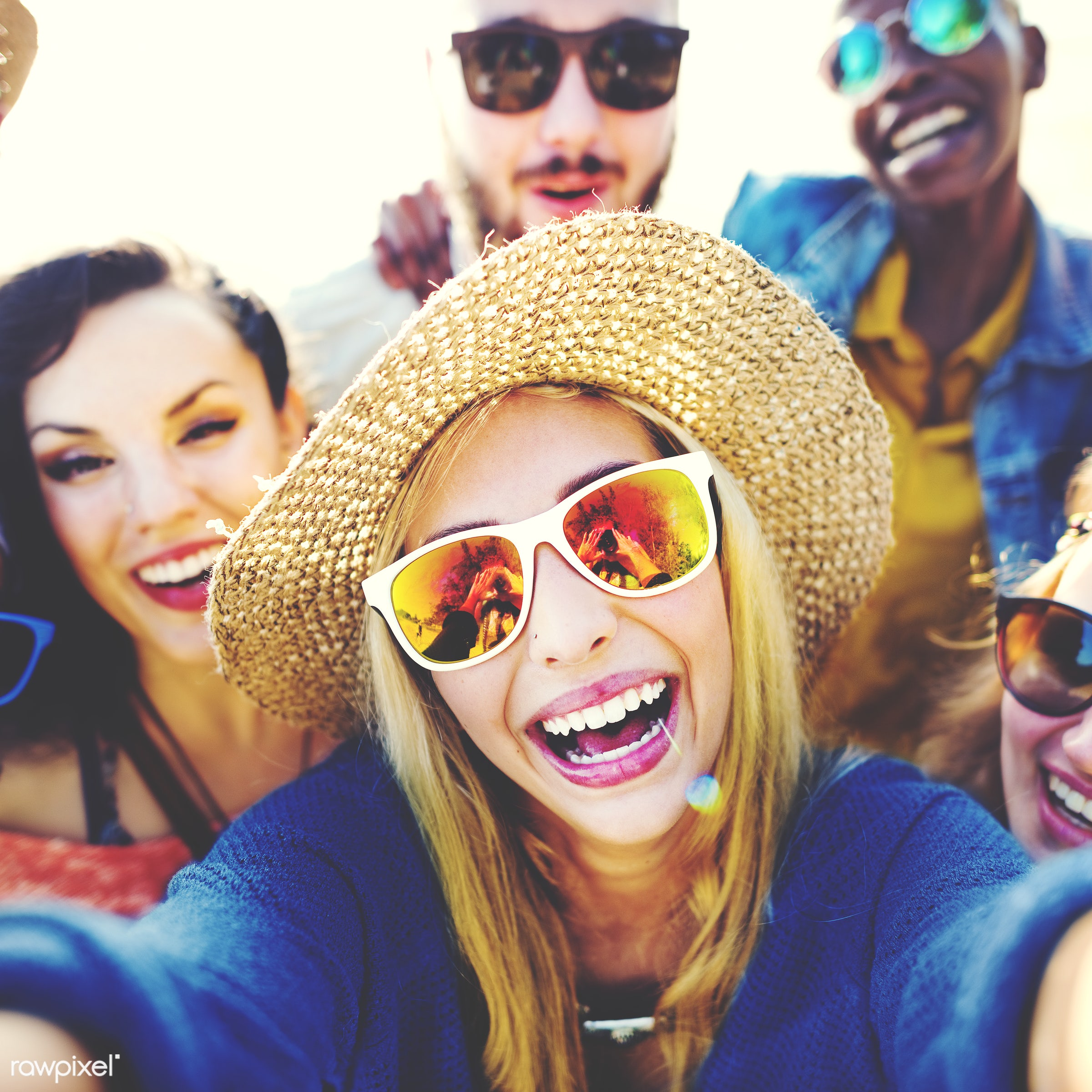 selfie, african descent, beach, bonding, camera, casual, cheerful, colorful, day, diverse, diversity, enjoyment, ethnic,...