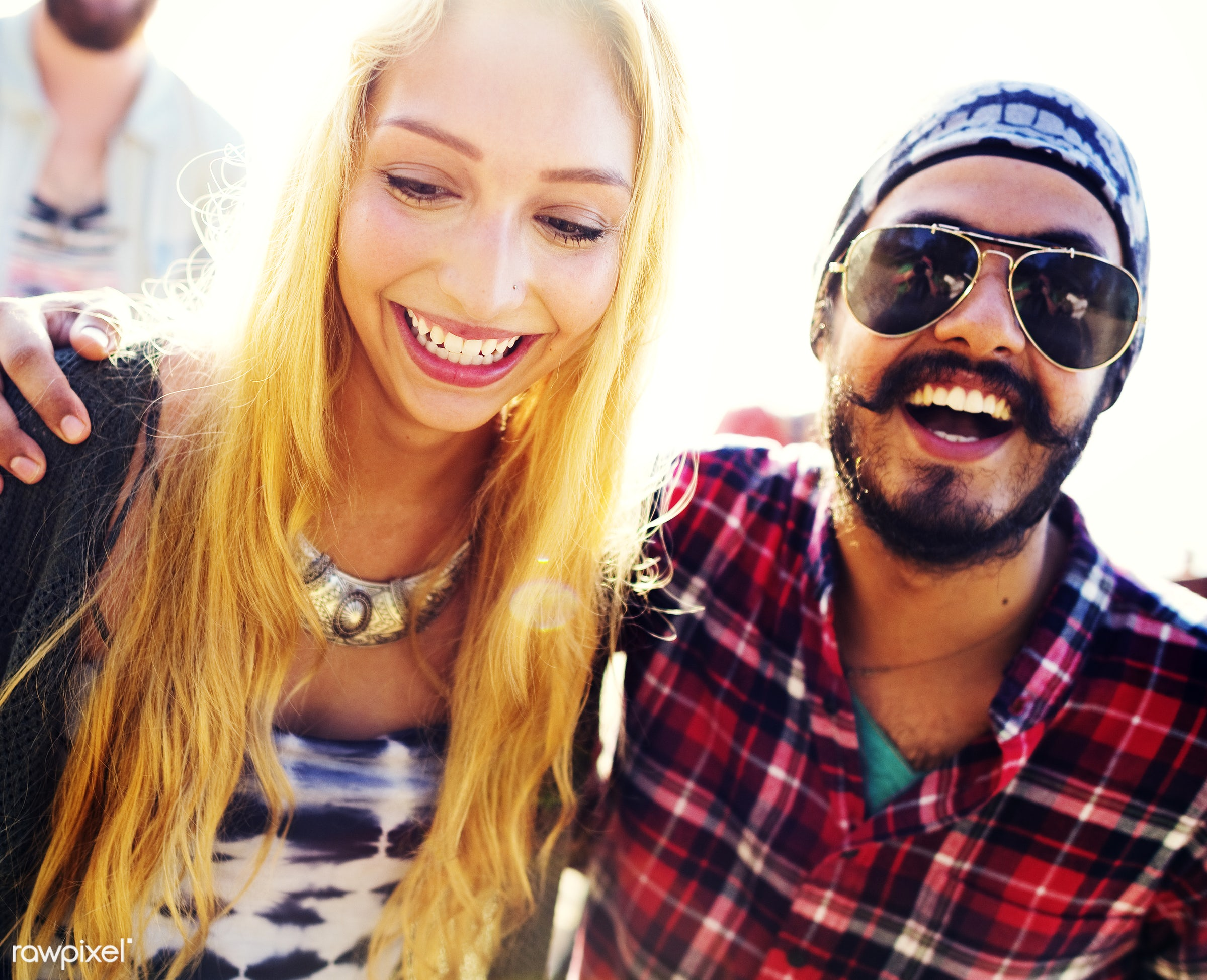 friends, friendship, group, people, students, young, diverse, diversity, blonde, black, african, beard, beach, summer, party...