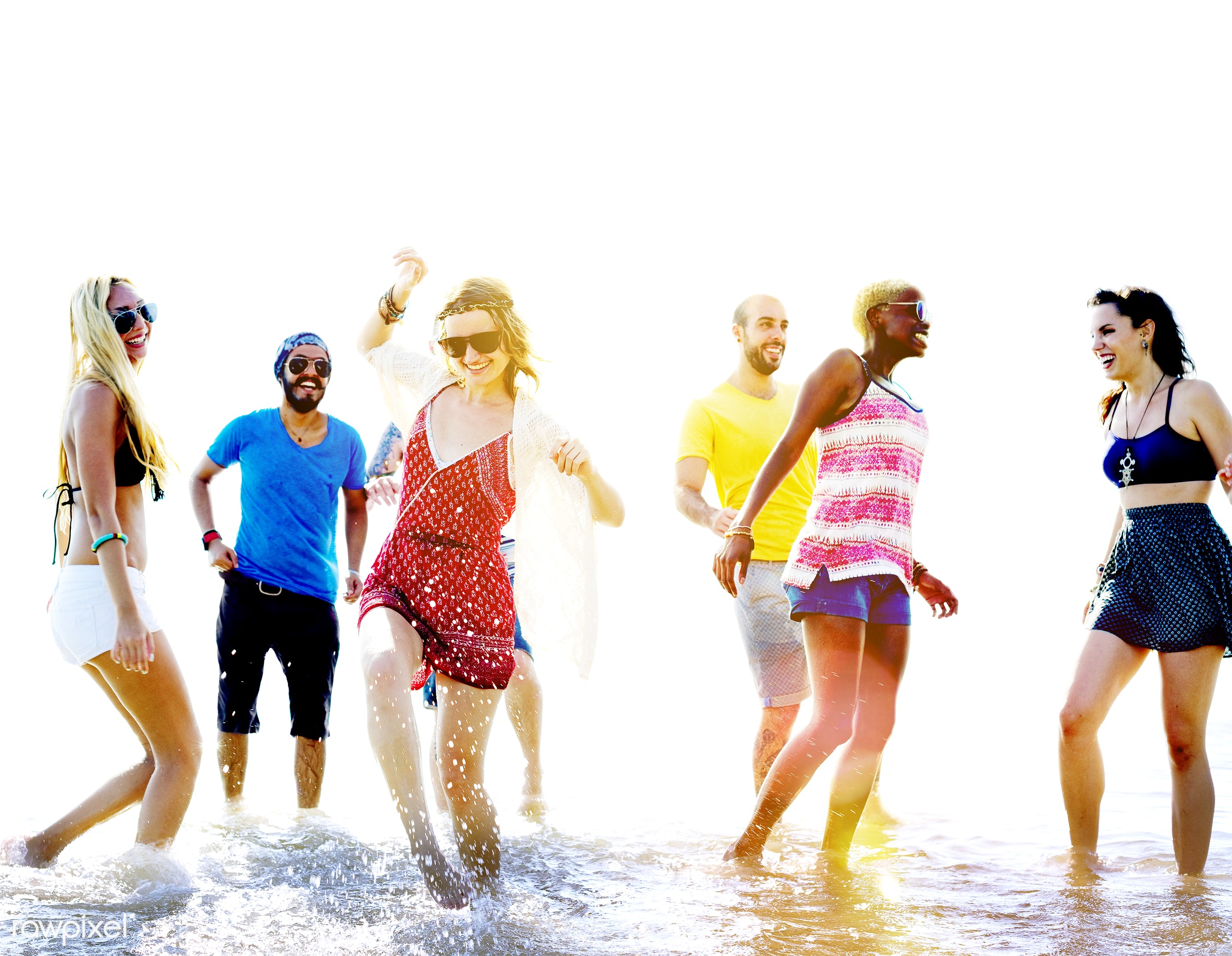 african descent, beach, bonding, cheerful, colorful, day, diverse, ecstatic, energy, enjoying, ethnicity, fashion, friends,...