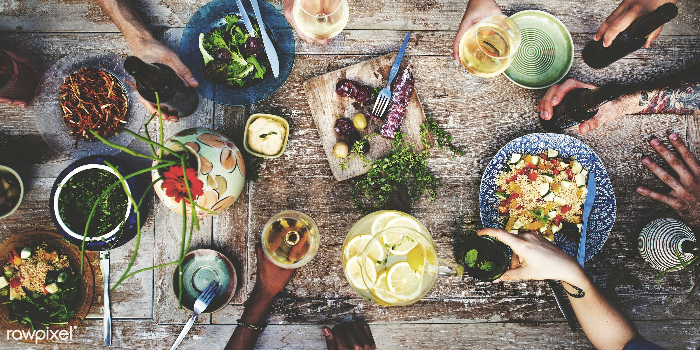 Summer party with food and drinks - kitchen, beer, spice, wine, aerial view, allspice, beverage, bowl, champagne, color,...