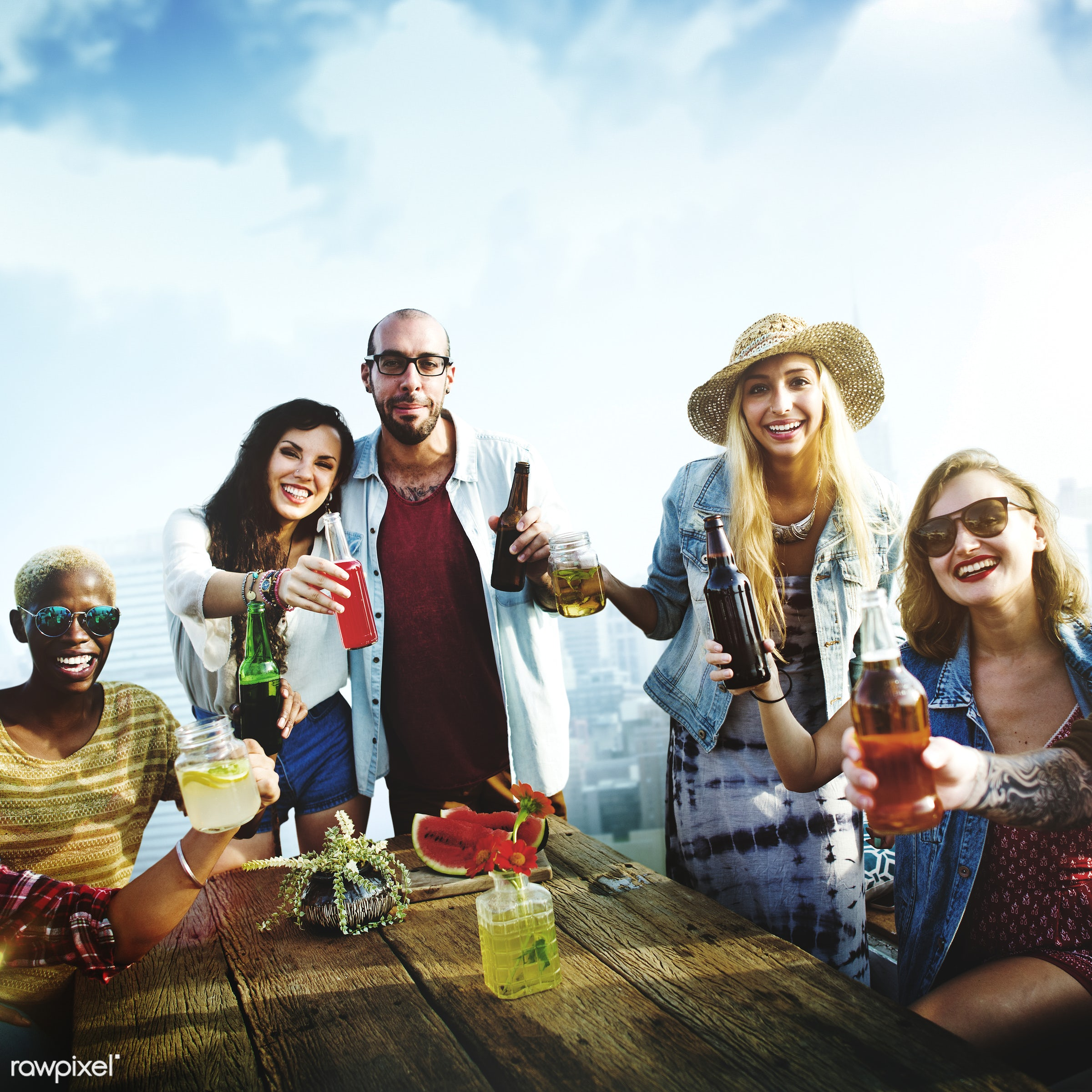 alcohol, beer, beverage, bonding, bright, buildings, casual, celebration, cheerful, cheers, city, day, diversity, drink,...