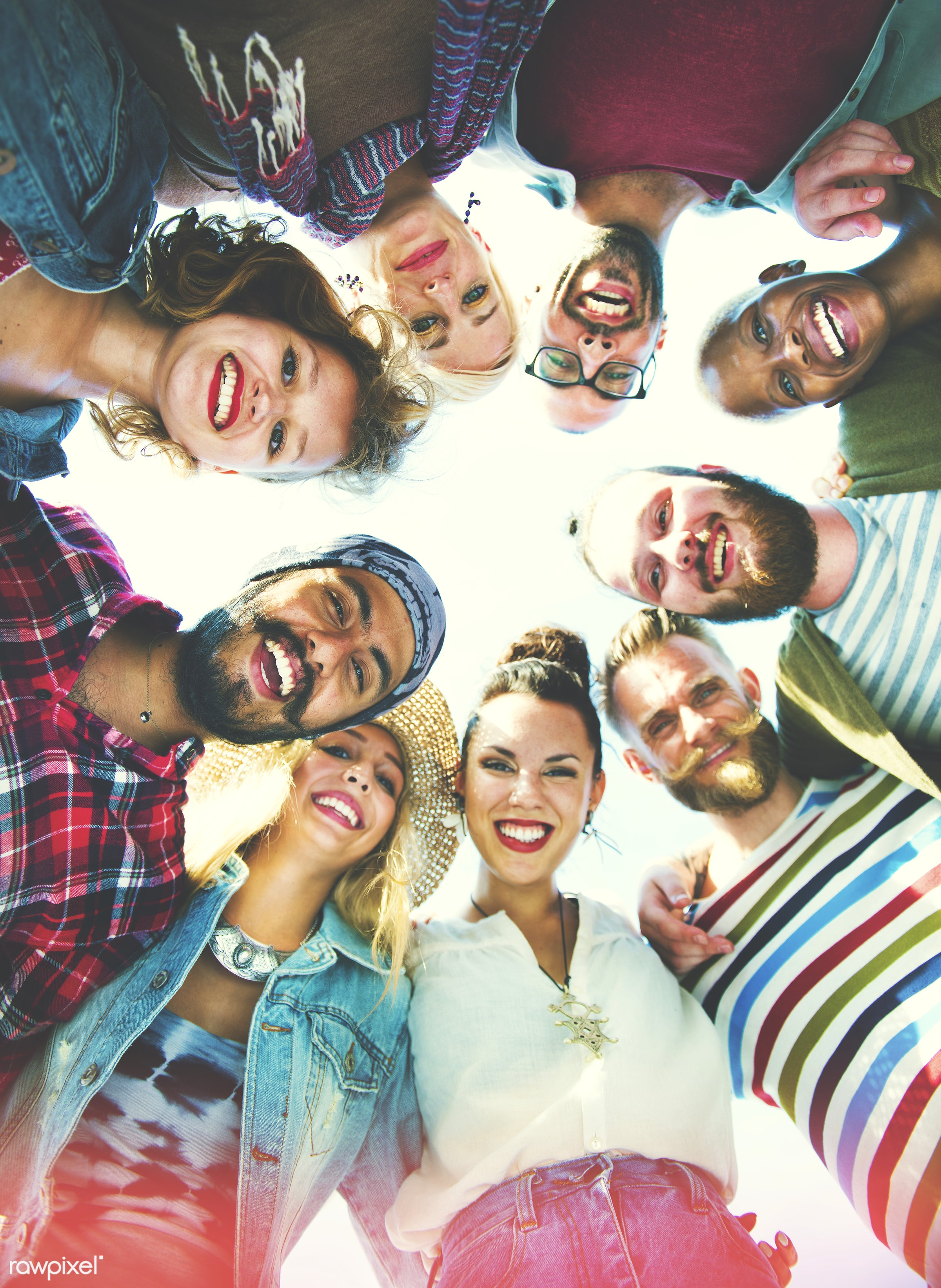 Group of diverse friends - excited, cool, african, asian, black, college, community, diverse, diversity, education, friends...