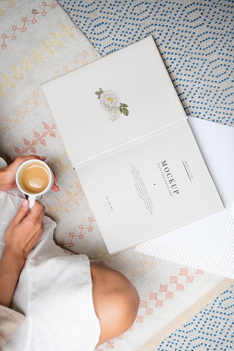 Woman reading a book mockup